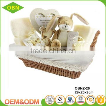 Wholesale China cheap fancy wicker woven empty fabric gift storage basket