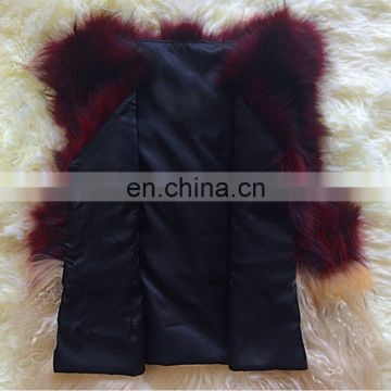 Fashion design raccoon fur vest bump stitching mongolian lamb fur