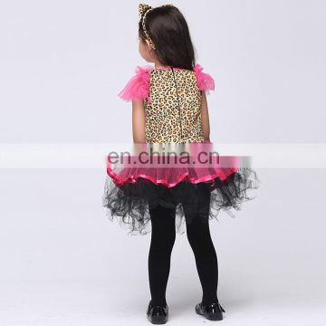 Fctory direct sale halloween style pink cat cosplay costume for girls