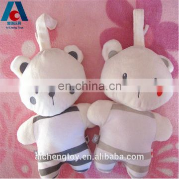 couple small teddy bear toy plush keychain with blusher