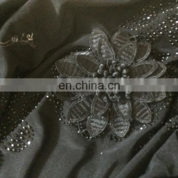 Black Colour Lycra(Stretchable) + Velvet With Stone Button Work & Embroidery Work / Islamic Wear Lycra Burkha Collection