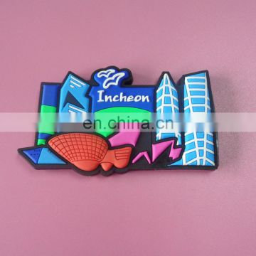 hot sale city sightseeing souvenir gifts local landmark image customized 3D soft PVC fridge magnet