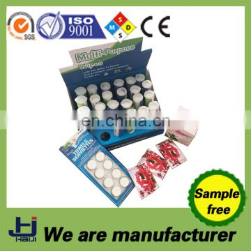 Compressed dry magic coin tissue with candy package