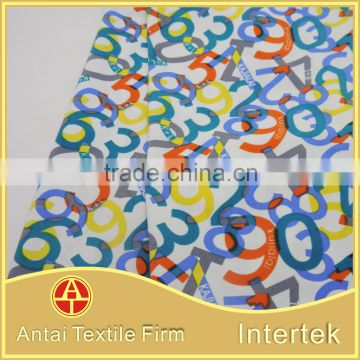 Multi color number design swimwear fabric /colorful figures printing knitted fabric for intimate wear