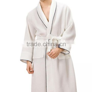 Spring And Autumn Men's robe Long Sleeved 100% Cotton Plaid And Geometric Pattern Gown Bathrobe Bathrobes Male