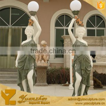 life size marble figure woman statue with lamp for garden decoration