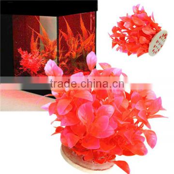 2016 Hot Sale Newest Aquarium Fish Tank Decoration Plastic Red Purple Plants Artificial Plants Grass Flower Ornament