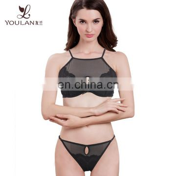 High Quality Sexy Fancy Black Transparent Inner Wear Bra Panty Set