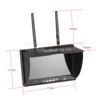 LCD5802D 5.8G 40CH 7 Inch FPV Monitor with DVR Build-in Battery for RC Model Racer Drone Quadcopter (Plug Type: US Plug)