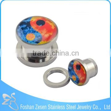 China factory surgical steel body piercing jewelry wholesale epoxy custom made ear plugs