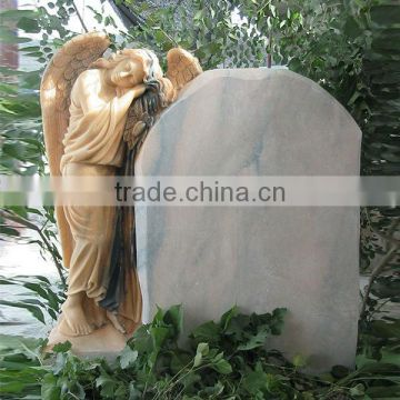 Wholesale Pink marble and white marble carved Angel headstone