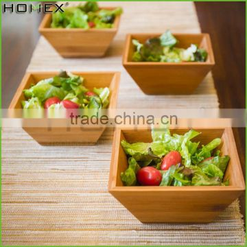 Bamboo salad bowl,square fruit serving bowl Homex-BSCI