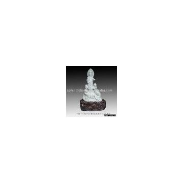 Jadeite Statue Kwan Yin Standing On Two Dragons
