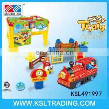 Kids electric bump and go train toy with blocks set for sale