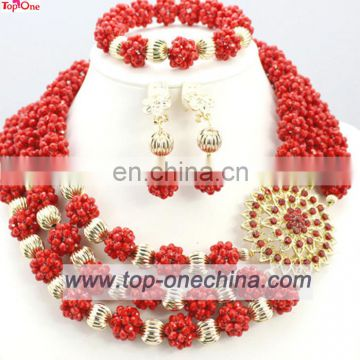 Fashion african beades jewerly\Nigeria wedding necklace with earings\Party jewelry set coral beads