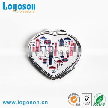 High quality Britain compact makeup mirror London souvenir custom heart shape pocket mirror