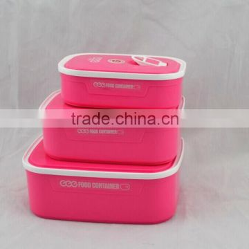 2015 hot popular plastic lunch box set with lock with different color, fresh lunch box (accept OEM)