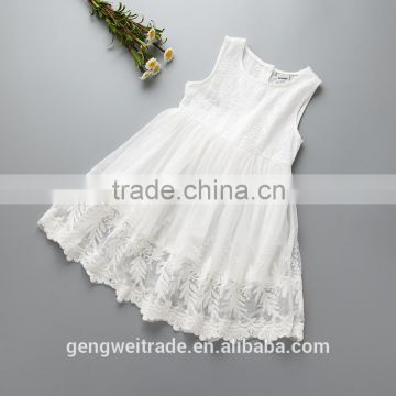 2016 new design summer girls white cotton dress high quality wedding dress flower girls dress