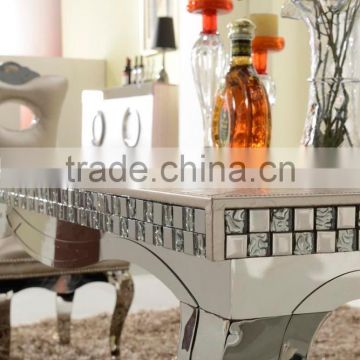High end royal mosaic decoration livingroom stainless steel furniture coffee table/center table covered by real leather/PU