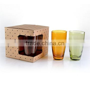 sets 4 color stemless water glass with gife box