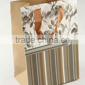 Printed Foldable Gift Bag With Stripe Patterns/ Shopping Paper Bag