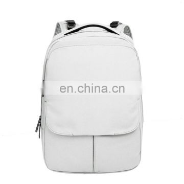 white daypack with padding handle straps bag magnet front compartment bag