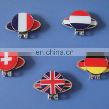 5 different country flags golf accessories hat clips and ball marker set