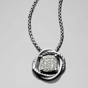 Sterling Silver Jewelry 7mm Pave Diamond Infinity Necklace(N-045)