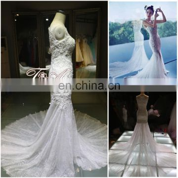 Complicated Handcraft Luxury Beaded Long Train Mermaid Corset Wedding Dress For 2016