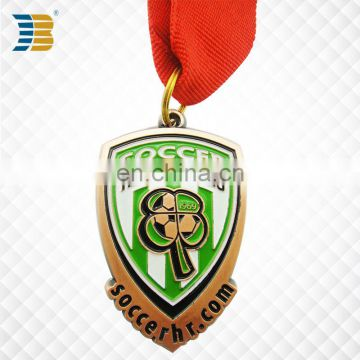 shield shape custom painted copper football medal with ribbon