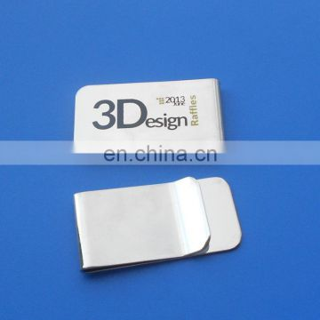 Silver custom printed logo metal money clip