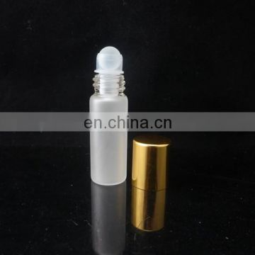 China factory 5ml glass roll on frost perfume bottles with glass roller ball and Aluminum cap