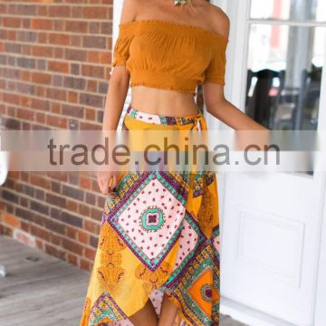 Walson 2017 hot selling American style printed Asymmetric Casual Midi Skirt