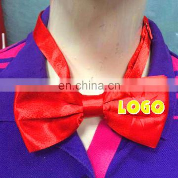 Cheap Red Custom Bow Tie With Adjustable straps With custom logo for sales promotion for event