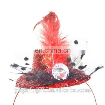 top hat headband with bow & feather