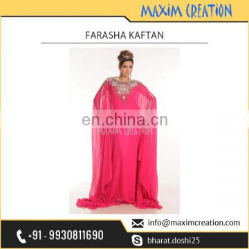 Excellent Quality Bright Pink Farasha Kaftan Gown for Wedding