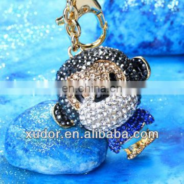 CRYSTAL AND METAL MONKEY KEYCHAIN