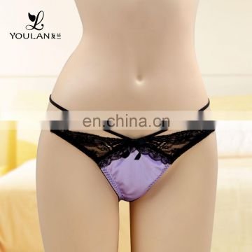 Customized LOGO Lace Lace Front And Back Open Thong Sexy Ladies