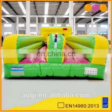 Over 20 years experience factory supplier green 2 lane interactive bungee run challenge indoor inflatable bungee run games