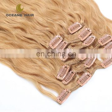 2017 new style double drawn mink brazilian clip in hair extension