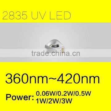 Ultraviolet Light Source SMD 2835 UV LED with 3W and 365nm for Light Curing