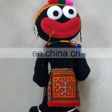 handmade funny ethnic characteristic big mouth black cloth doll