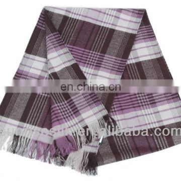 High quality hot sale checked oblong scarf cotton products