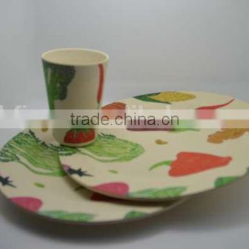 BSCI Audit Hot-sell Bamboo Fiber Print Dinner Set (BC-CS1009)