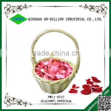 Custom cheap small colored pink wicker decorative wedding decoration baskets