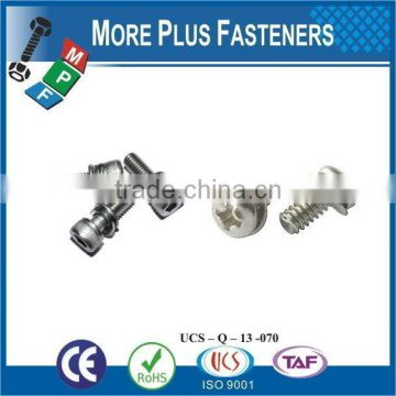 Made in Taiwan Stainless M3-0.5 x 12mm Phillips Pan Head Zinc Finish Steel Internal Tooth Washer SEMS Machine Screw