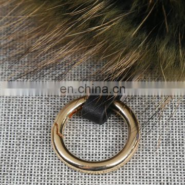Diy animal fur ball pendant rainbow raccoon fur pompom keychain