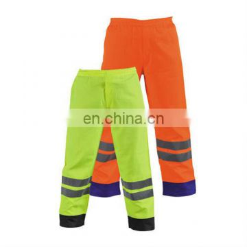 Hi-Vis Waterproof Rain Pants Made-in 300D Oxford With PU Coating Fabric