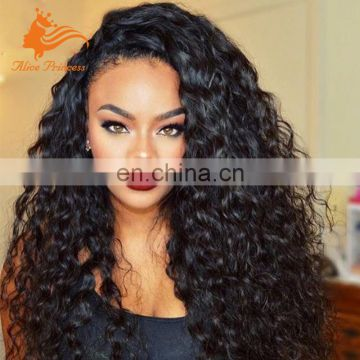 200% Density Virgin Human Hair Full Lace Wig Afro Kinky Curly Natural Color Wig With Baby Hair For Women