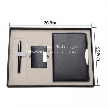 Business gift set with PU leather notebook name card holder ballpen,luxury gift set for woman,mens gift set
